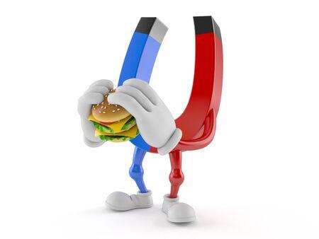 Horseshoe magnet character eating hamburger isolated on white background. 3d illustration