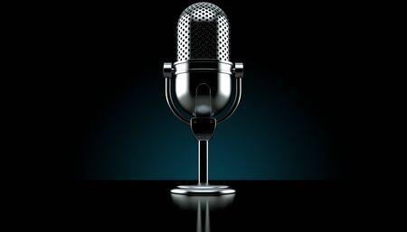 Radio microphone on black background. 3d illustration Stock Photo