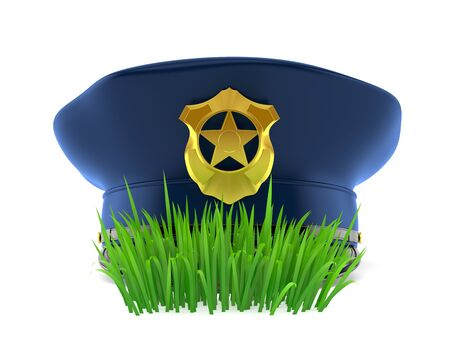 Police hat on grass isolated on white background. 3d illustration