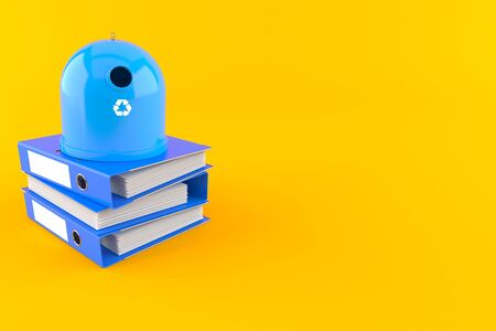 Recycling bin with ring binders isolated on orange background. 3d illustration