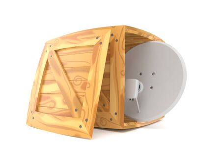 Satellite dish inside cargo crate isolated on white background. 3d illustration
