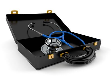 Stethoscope inside black briefcase isolated on white background. 3d illustration