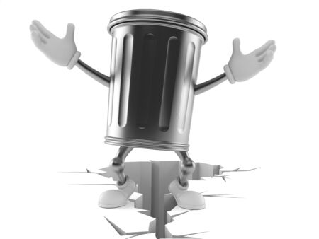 Trash can character standing on cracked ground isolated on white background. 3d illustration