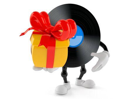 Vinyl character holding gift isolated on white background. 3d illustration