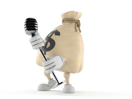 Dollar money bag  character singing into microphone isolated on white background. 3d illustration Stock Photo