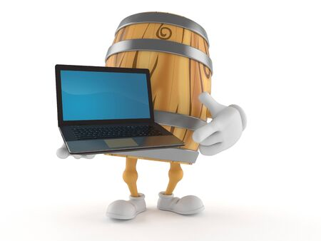Cask character holding laptop isolated on white background. 3d illustration