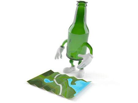 Green glass bottle character looking at map isolated on white background. 3d illustration Stockfoto