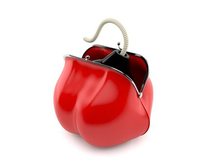 Bomb inside red purse isolated on white background. 3d illustration Reklamní fotografie