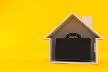 Briefcase inside house cross-section isolated on orange background. 3d illustration