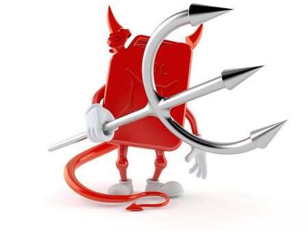 Petrol canister character with devil horns and pitchfork. 3d illustration 写真素材