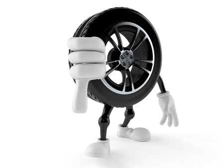 Car wheel character with thumbs down gesture isolated on white background. 3d illustration