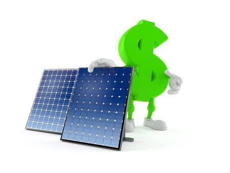Dollar character with photovoltaic panel isolated on white background. 3d illustration Archivio Fotografico - 128706248