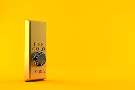 Gold ingot with combination lock isolated on orange background. 3d illustration