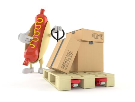 Hot dog character with hand pallet truck with cardboard boxes isolated on white background. 3d illustration