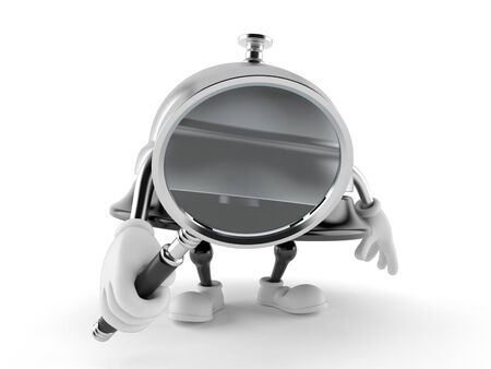 Hotel bell character looking through magnifying glass isolated on white background. 3d illustration