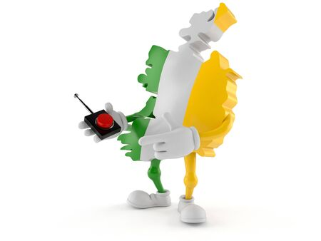 Ireland character pushing button on white background. 3d illustration Imagens
