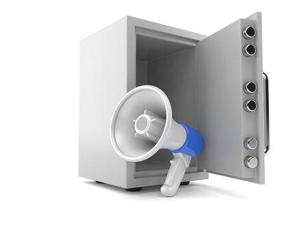 Megaphone inside safe isolated on white background. 3d illustration Imagens