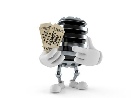 Microphone character holding tickets isolated on white background. 3d illustration