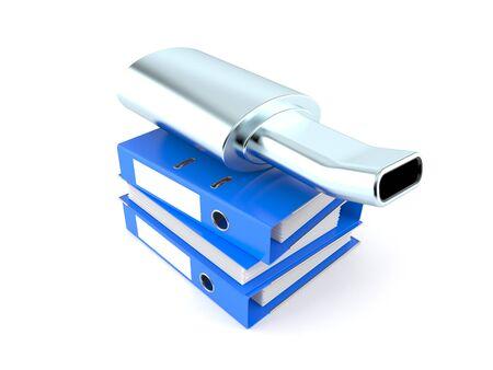 Muffler with ring binders isolated on white background. 3d illustration Reklamní fotografie