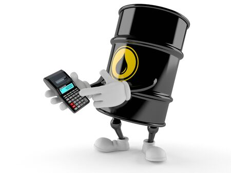 Oil barrel character using calculator isolated on white background. 3d illustration