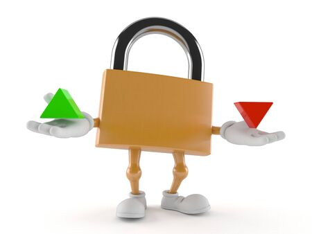 Padlock character with up and down arrow isolated on white background. 3d illustration