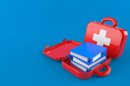 Ring binders inside first aid kit isolated on blue background. 3d illustration