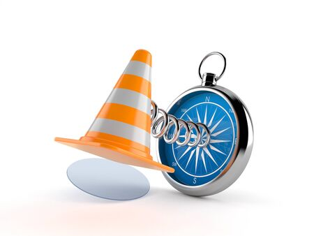 Traffic cone with compass isolated on white background. 3d illustration