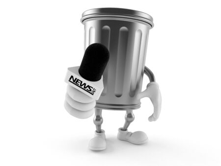 Trash can character holding interview microphone isolated on white background. 3d illustration 写真素材