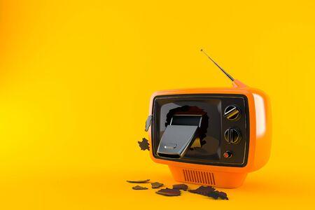Whistle inside tv set isolated on orange background. 3d illustration Banco de Imagens