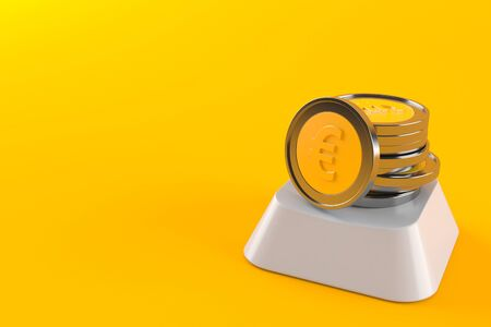 Euro coins on computer key isolated on orange background. 3d illustration Imagens