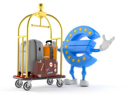 Euro currency character with hotel luggage cart isolated on white background. 3d illustration 스톡 콘텐츠