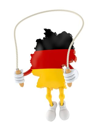 German character jumping on jumping rope isolated on white background. 3d illustration