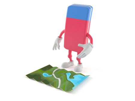 School rubber character looking at map isolated on white background. 3d illustration