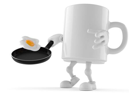 Mug character with frying pan isolated on white background. 3d illustration