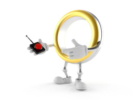 Wedding ring character pushing button on white background. 3d illustration