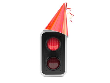Red traffic light with party hat isolated on white background. 3d illustration