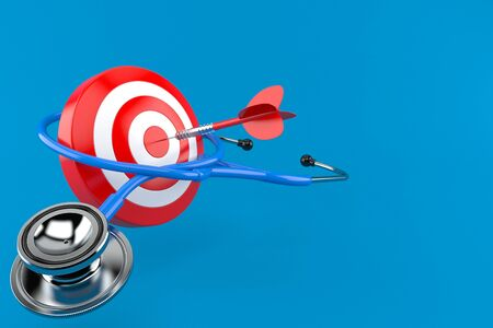 Stethoscope with bull's eye isolated on blue background. 3d illustration