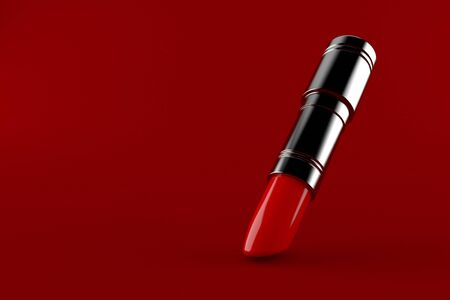 Lipstick isolated on red background. 3d illustration