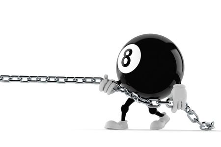Eight ball character pulling chain isolated on white background. 3d illustration Reklamní fotografie