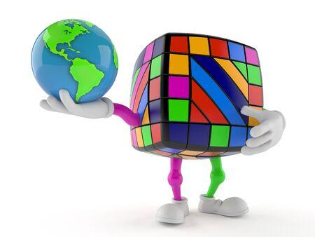 Toy puzzle character holding world globe isolated on white background. 3d illustration
