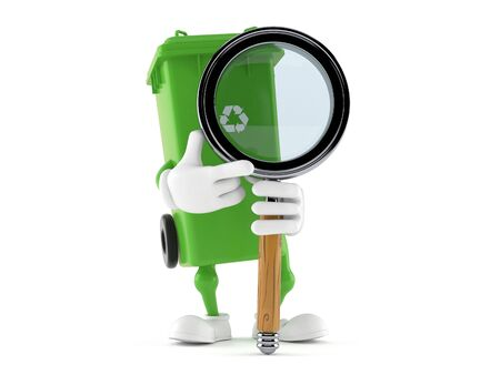 Dustbin character with magnifying glass isolated on white background. 3d illustration Banco de Imagens