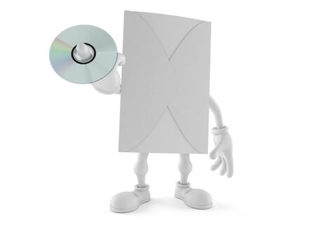 Envelope character holding cd disc isolated on white background. 3d illustration Stock Photo