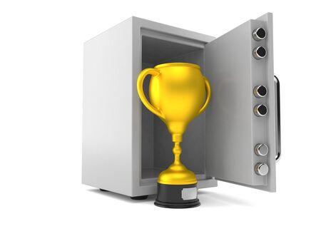 Golden trophy inside safe isolated on white background. 3d illustration