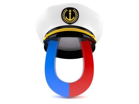 Horseshoe magnet with captains hat isolated on white background. 3d illustration