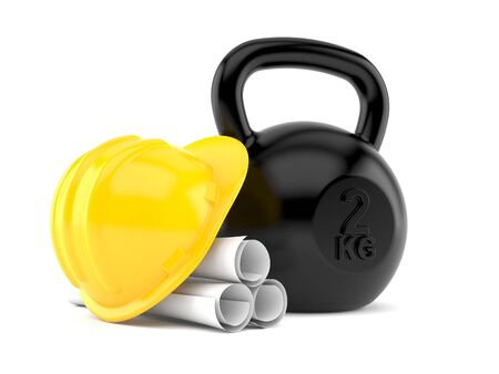 Kettlebell with blueprints isolated on white background. 3d illustration
