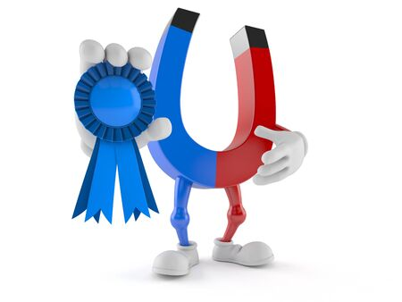 Horseshoe magnet character with award ribbon isolated on white background. 3d illustration Reklamní fotografie - 128573355