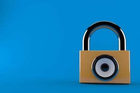 Padlock with sound speaker isolated on blue background. 3d illustration Stock Photo