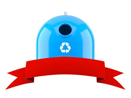 Recycling bin with blank red ribbon isolated on white background. 3d illustration