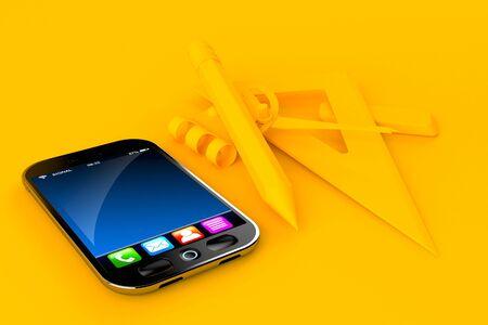Education background with smart phone in orange color. 3d illustration