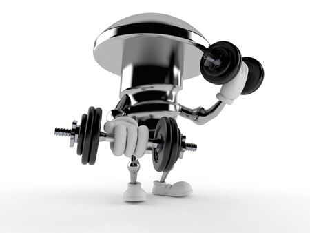 Bolt character with dumbbells isolated on white background. 3d illustration